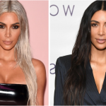 Kim Kardashian two images one with bleach blonde hair and one with dark brunette hair. Center part hairstyle with long soft waves