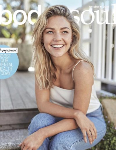 Sam Frost image in body and soul with blonde highlights and balayage hair colour. Side parting with soft waves and hair extensions