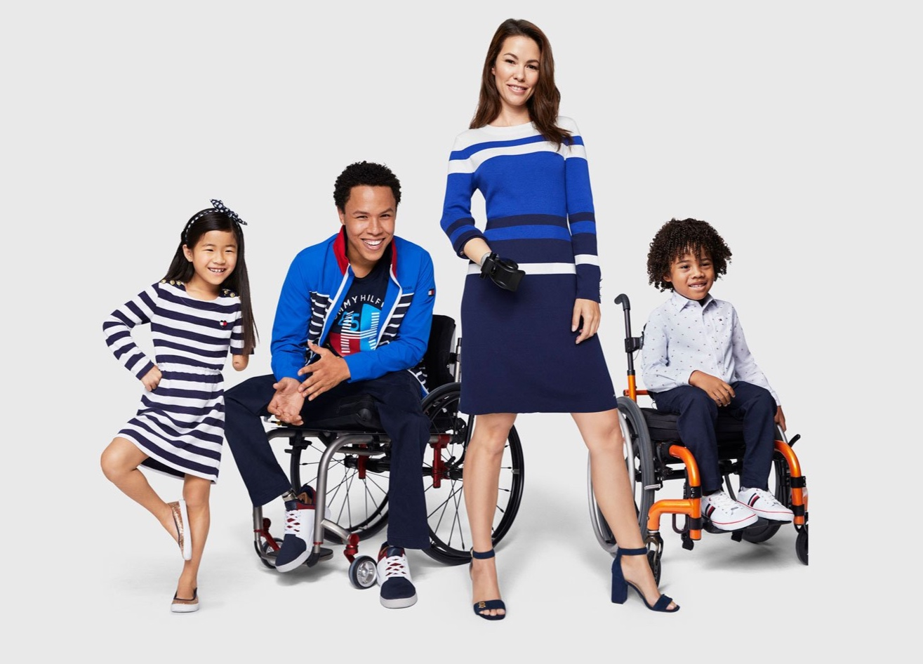 models with physical impairments wearing tommy adaptive clothing
