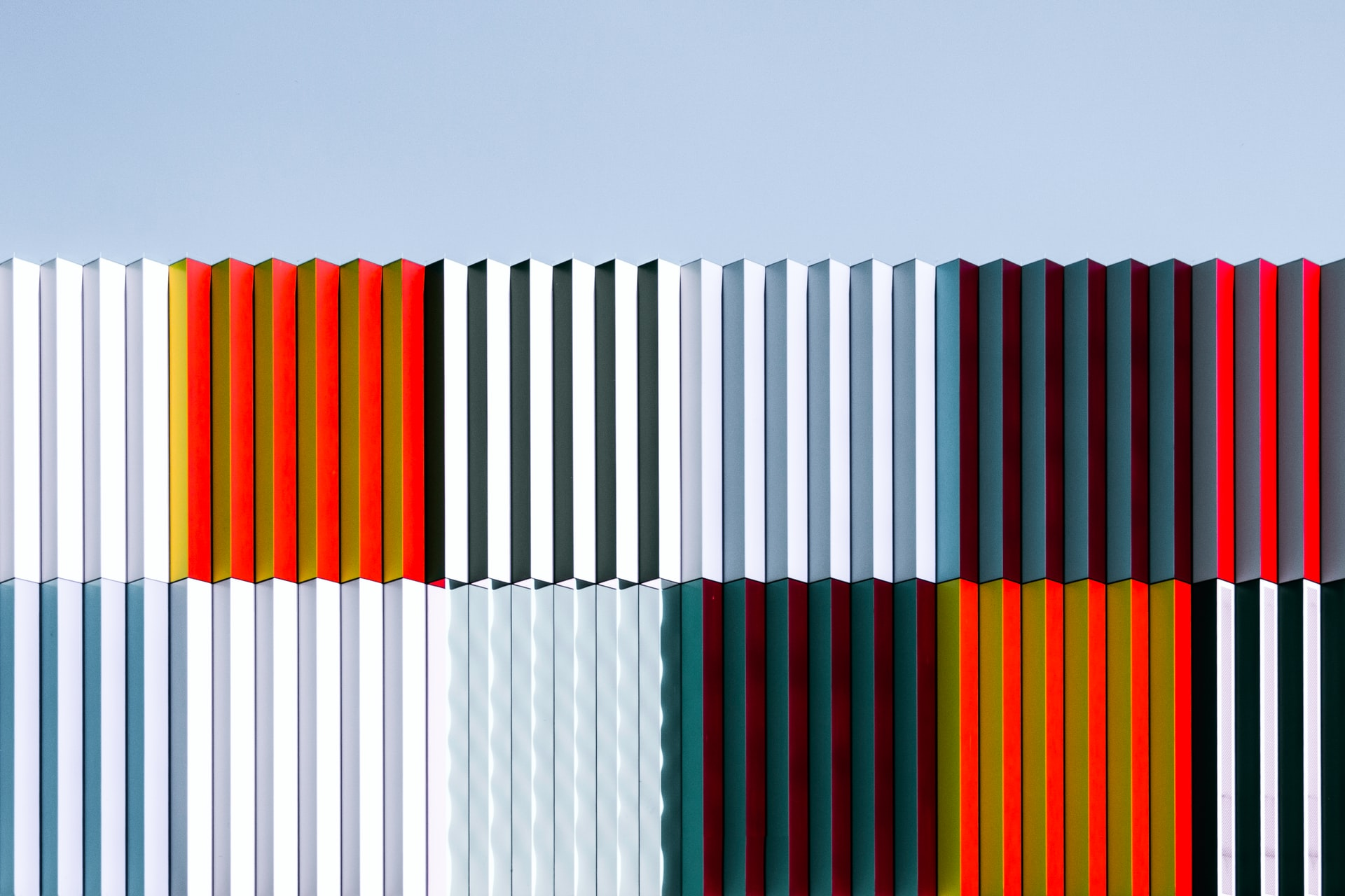 Several different colors of corrugated sheets