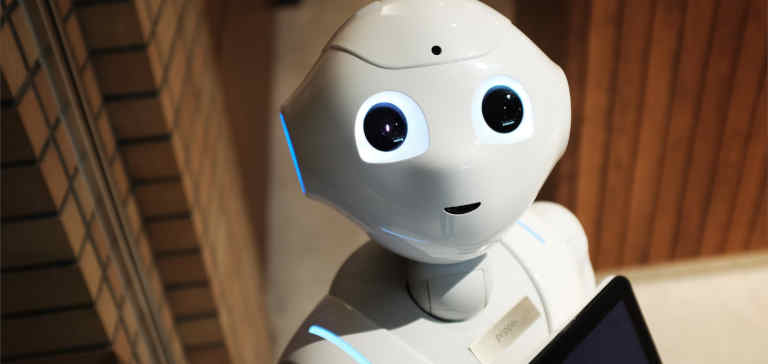A white robot with human features
