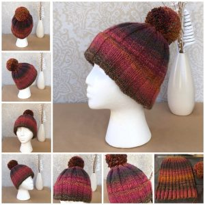Handknit Shaded Ribbed PomPom Beanie - Ready to ship