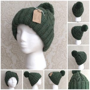 Handknit Forest Green Double Cable Hat with matching yarn pompom - Ready to ship