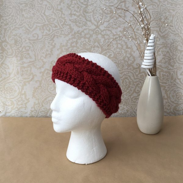 Handknit Red Chunky Cable Earwarmer/Headband - Ready to ship