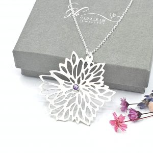 Dahlia with Amethyst necklace