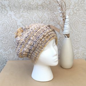 Hand-knit Mustard/Cream/Brown Slouchy Beanie Hat with Pompom - Ready to ship