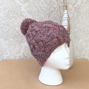 Handknit 'Shades of Autumn'Cable Pompom Hat - Ready to ship.