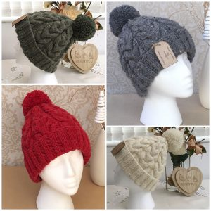 Handknit double cable hat with matching yarn pompom - Ready to ship