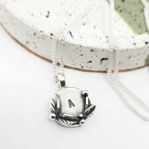 Leaf and berry initial necklace