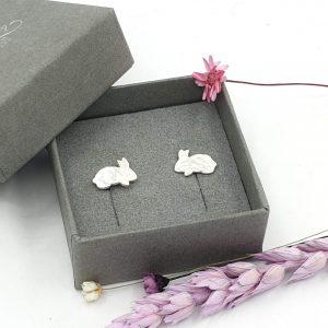 silver bunny rabbit stud earrings