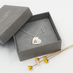 gold filled bee heart necklace