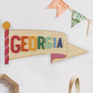 Personalised Wooden Pennant Flag