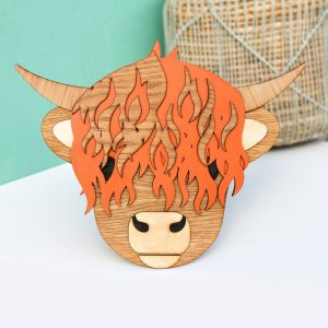 Wooden Highland Cow wall hanging