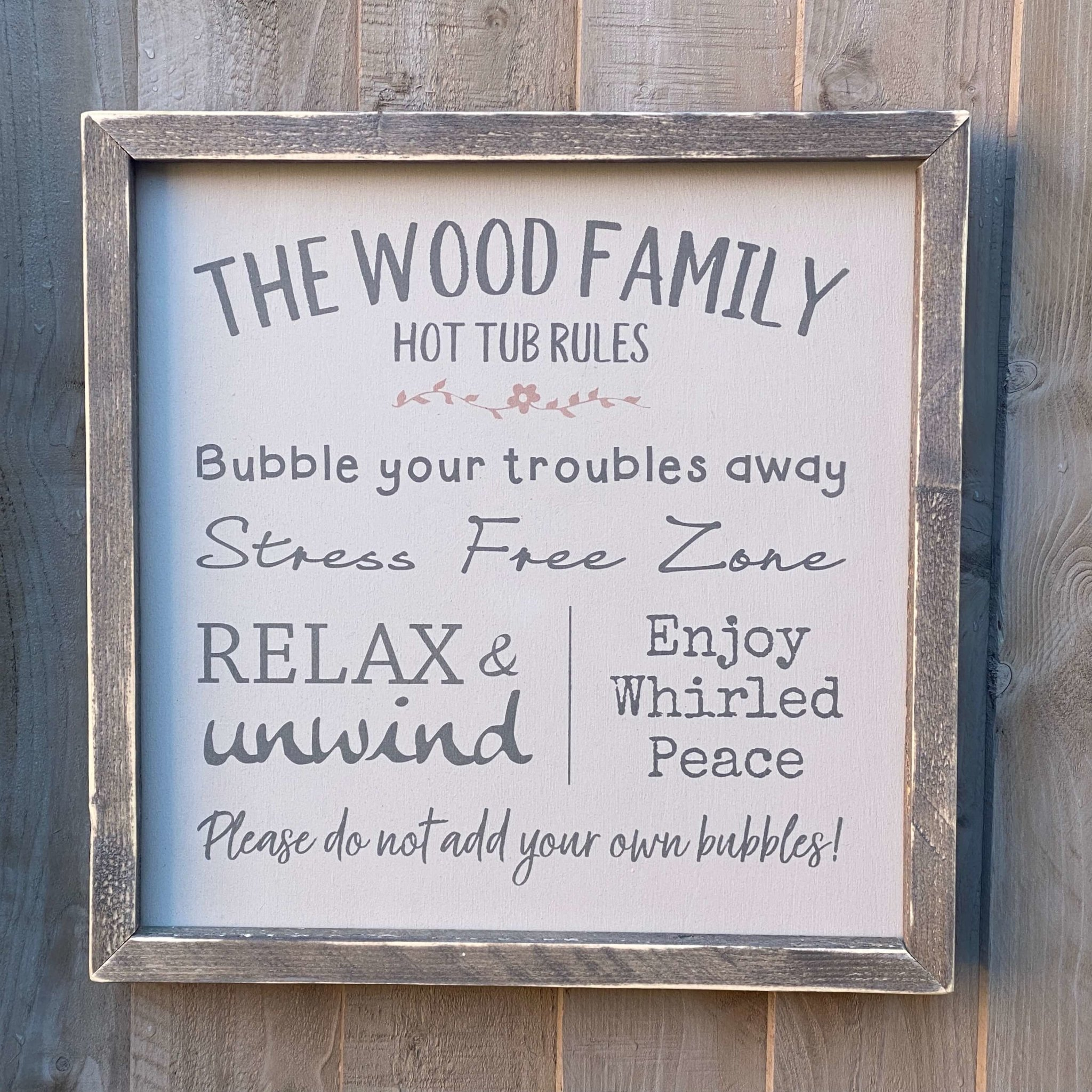 Hot Tub Rules Handmade Wooden Sign