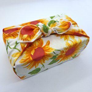 Sunflower pattern furoshiki gift wrap