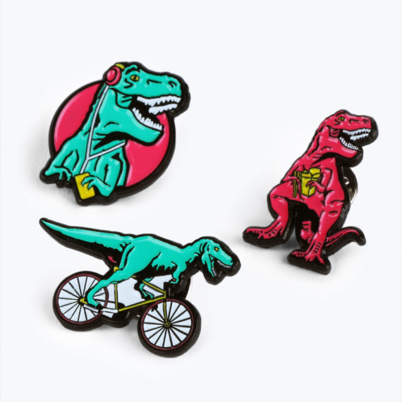 T-Rex Pin Badges from www.justmustard.com