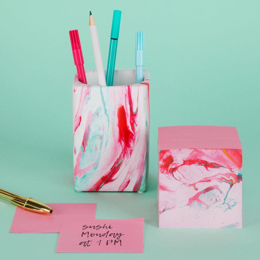 Marble Memo Block and Pen Pot www.justmustard.com