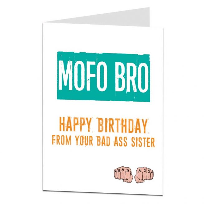 mofo brother birthday card