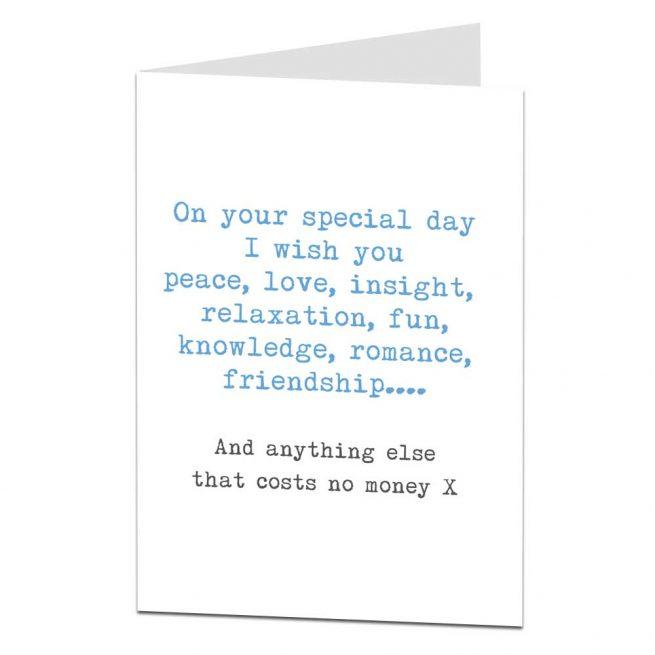no money joke birthday card