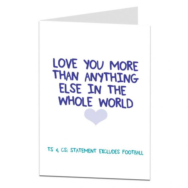 joke love you football anniversary card
