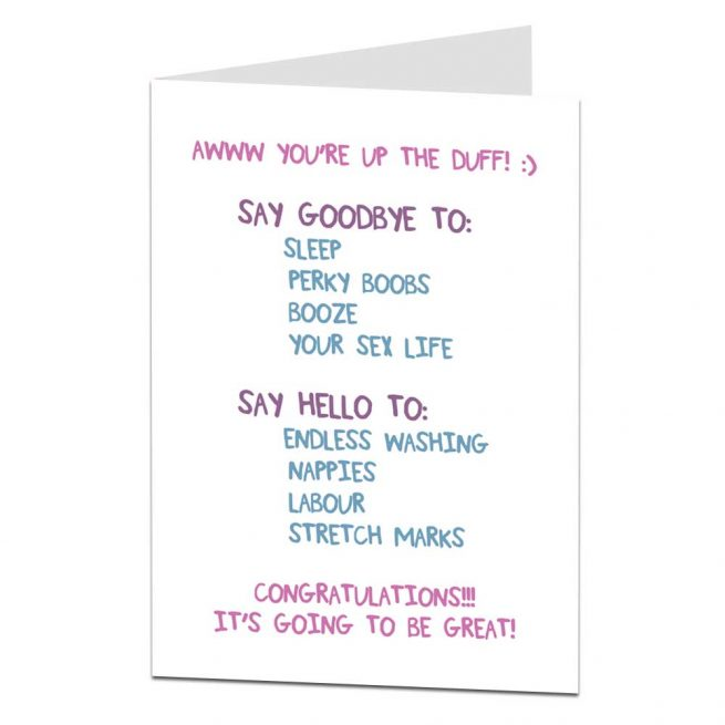 up the duff funny pregnancy card