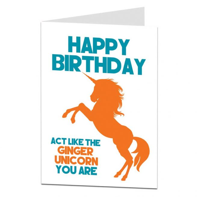 Ginger Unicorn Birthday Card