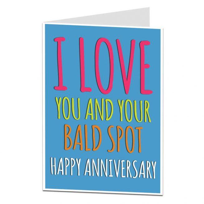 bald spot anniversary card