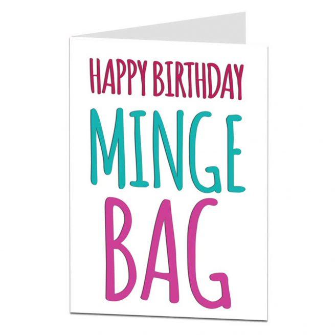 Happy Birthday Minge Bag Card