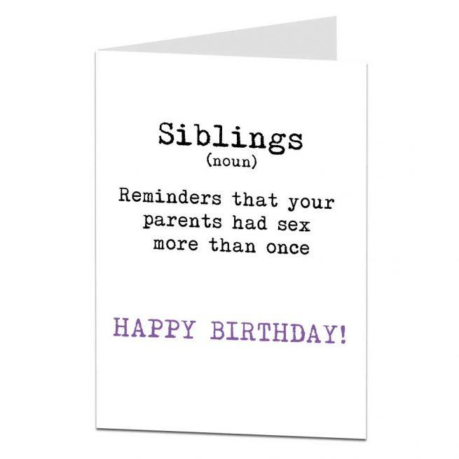 Siblings Greetings Card Funny