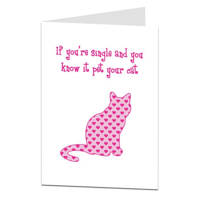 Single Valentine Card Cat