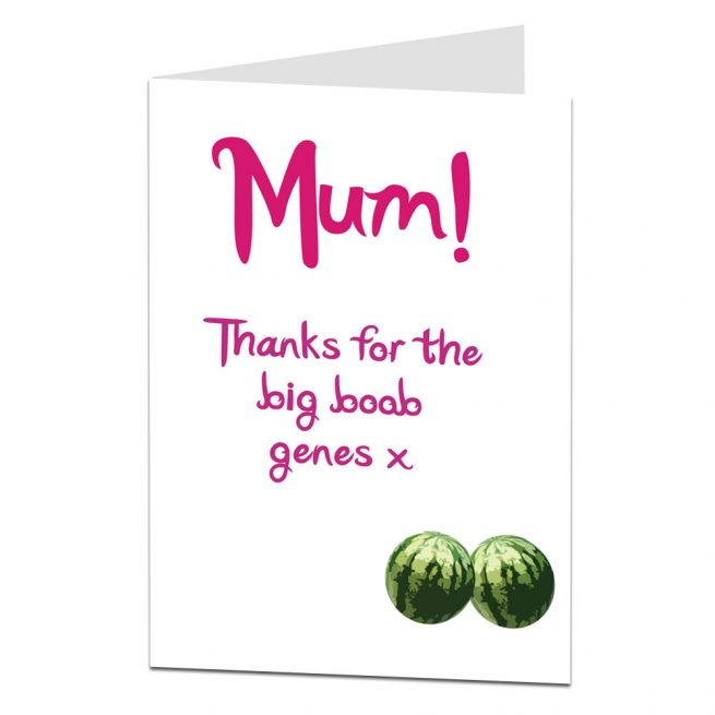 Big Boob Genes Mothers Day Card