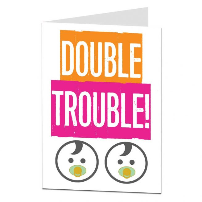 Double Trouble Birth Pregnancy Twins Card