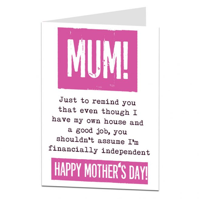 Financially Independent Mothering Sunday Card