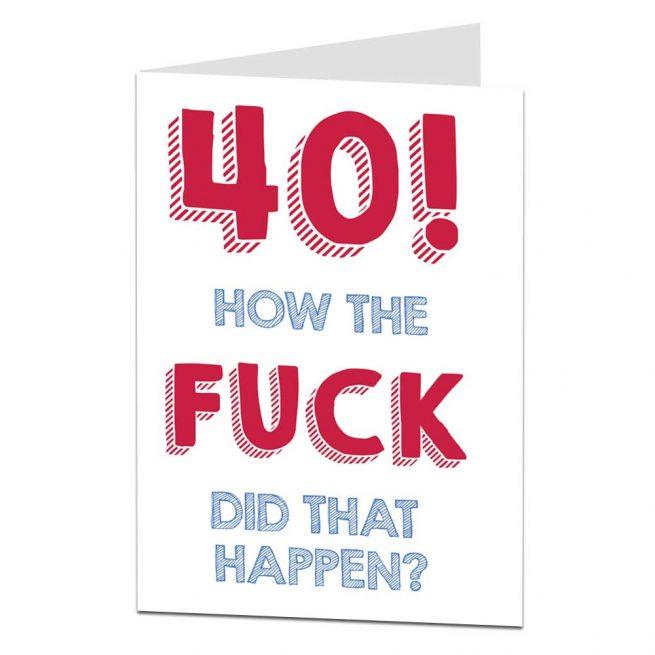 Adult Happy 40th Birthday Card