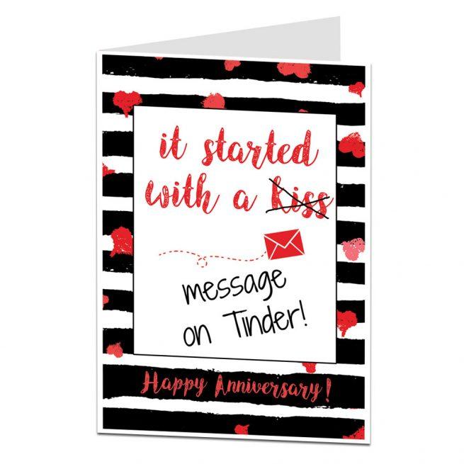 Tinder Anniversary Card