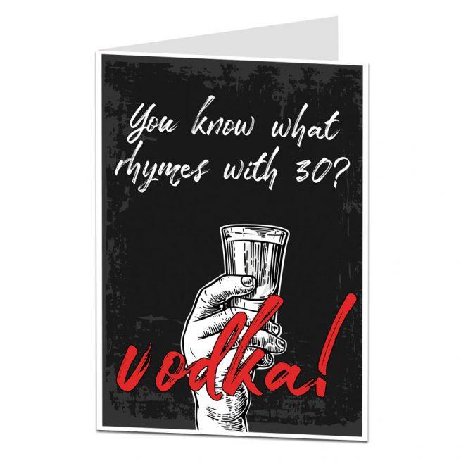 30th Birthday Card Vodka