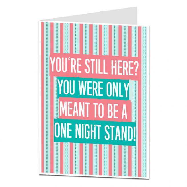 One Night Stand Anniversary Card