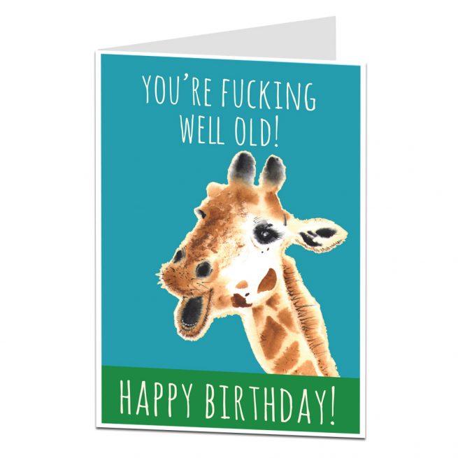 You're Well Old Giraffe Birthday Card