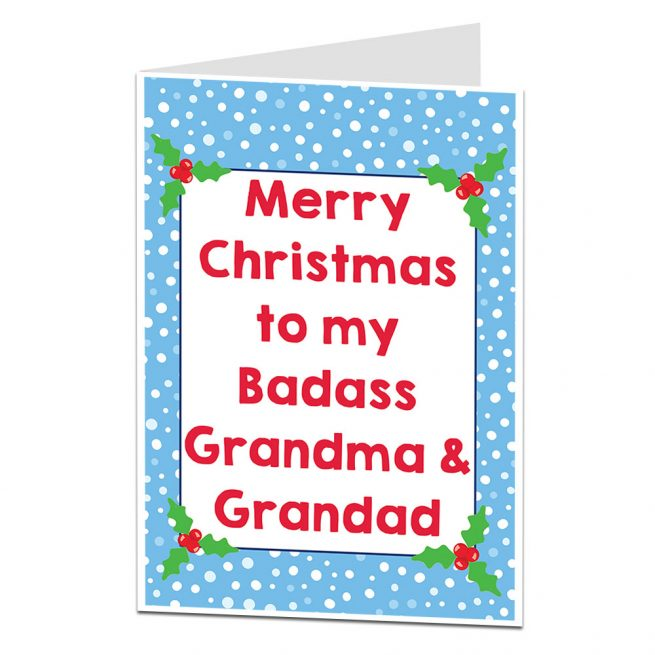 Badass Grandma & Grandad Christmas Card