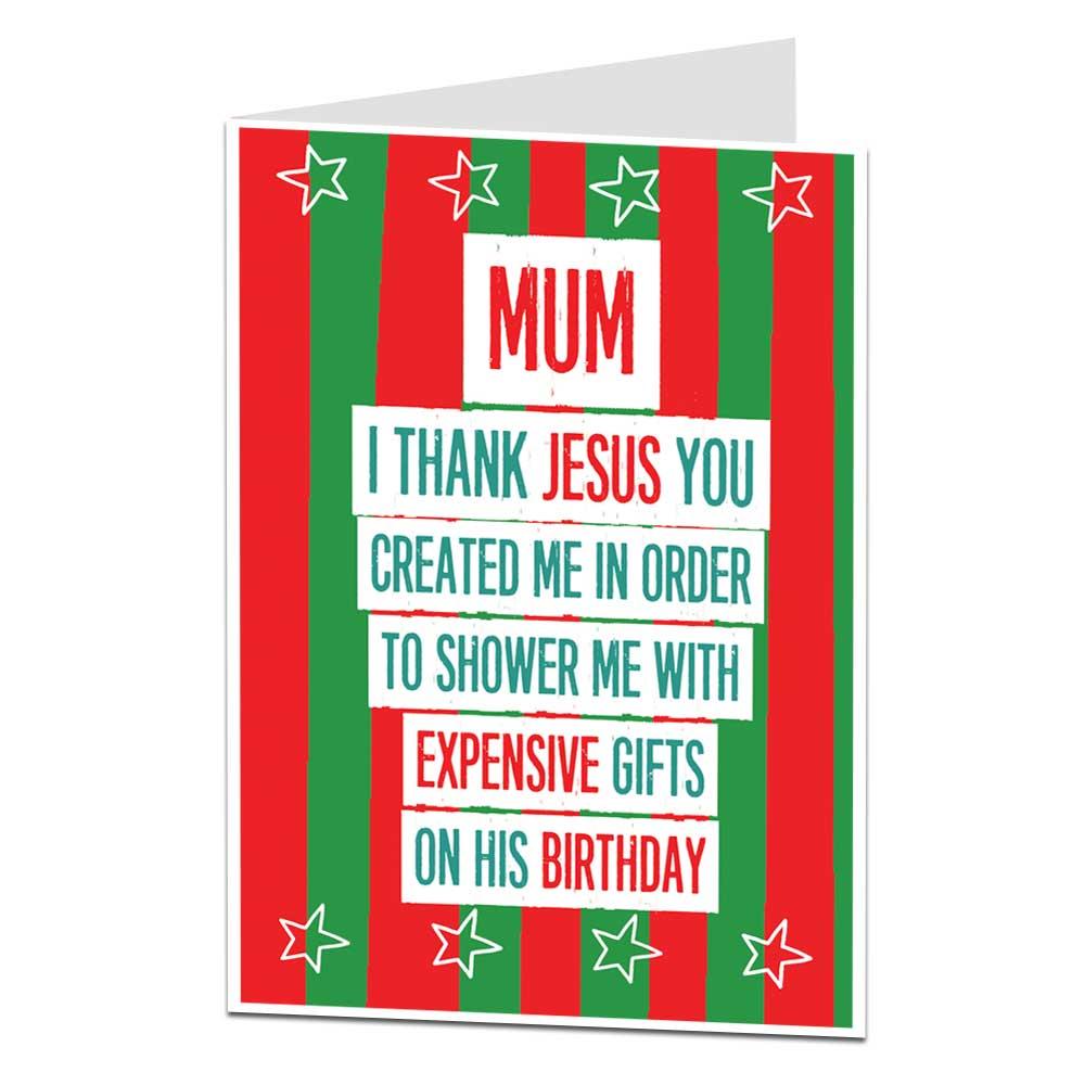 Christmas Card For Mum Thank Jesus