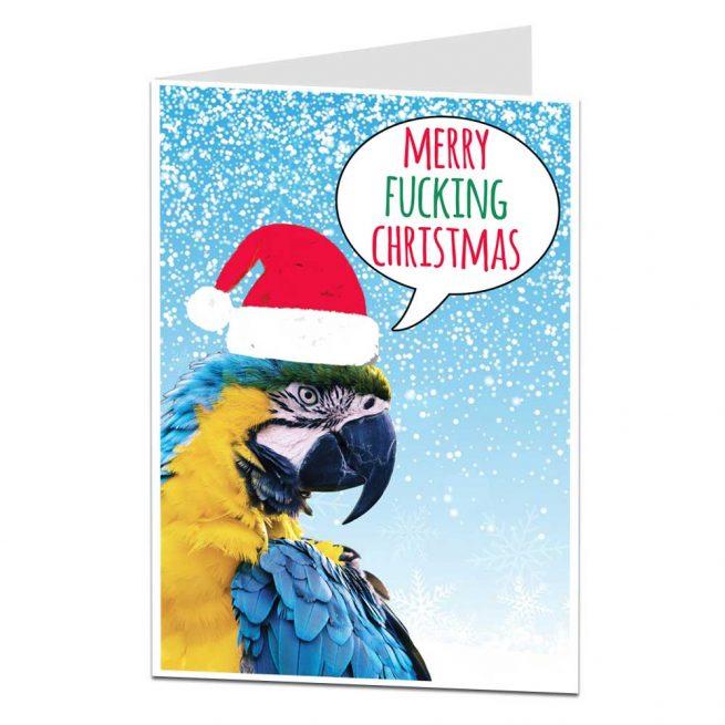 Funny Parrot Xmas Card
