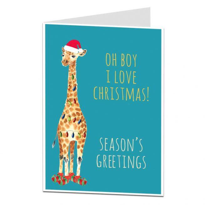 I Love Christmas Giraffe Card