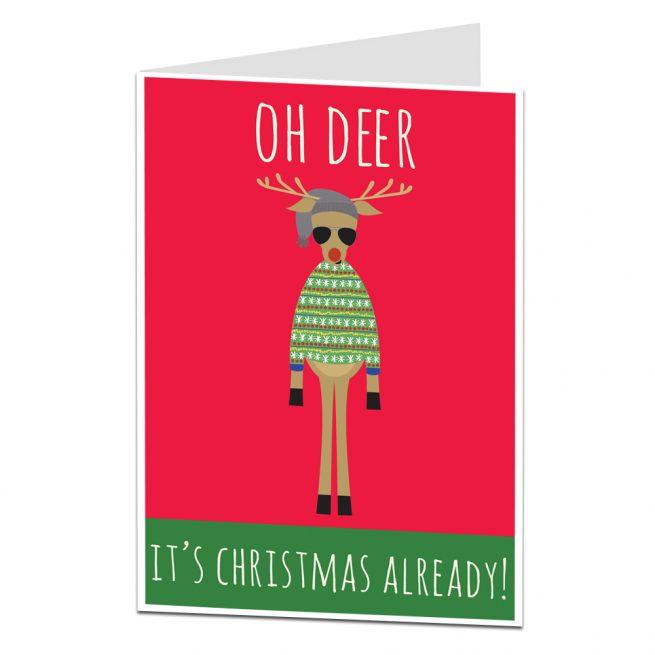 Reindeer Christmas Cards.Funny Hipster Reindeer Christmas Card