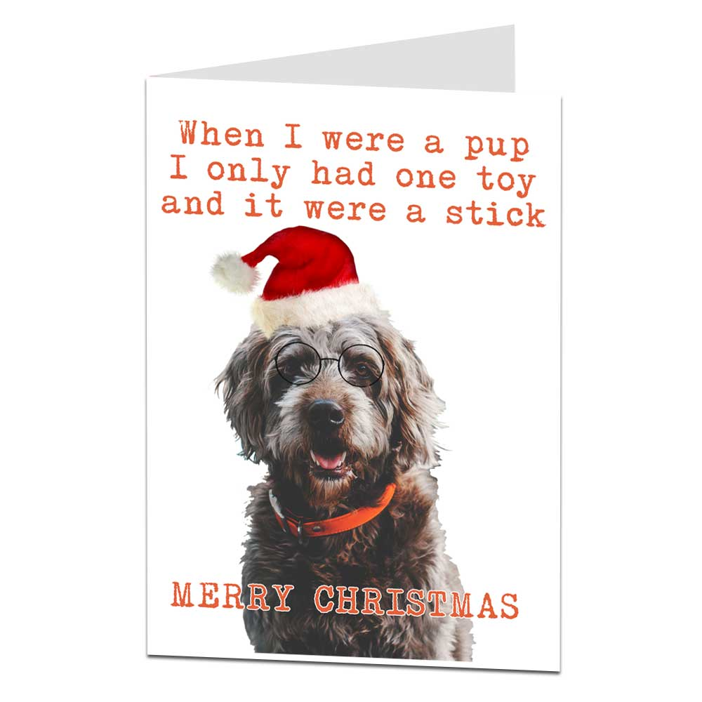 Dog Christmas Card Photo.Funny Dog Christmas Card When I Were A Pup