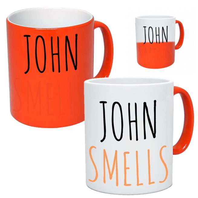 Colour Changing Personalised Mug Orange