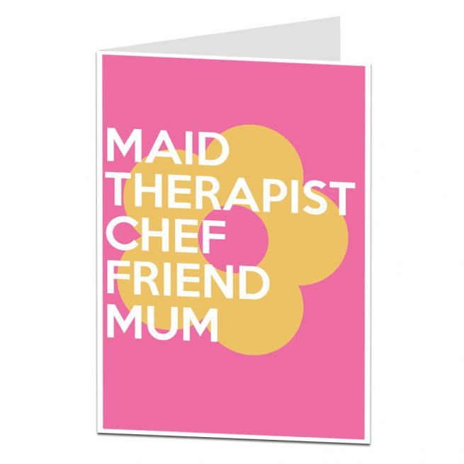 maid therpaist chef friend mum mother's day card