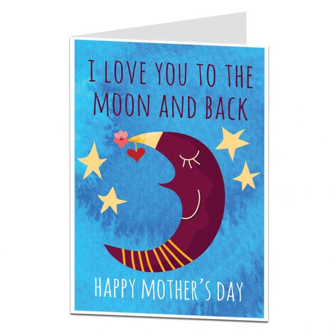 Moon and Back Mother's Day Card
