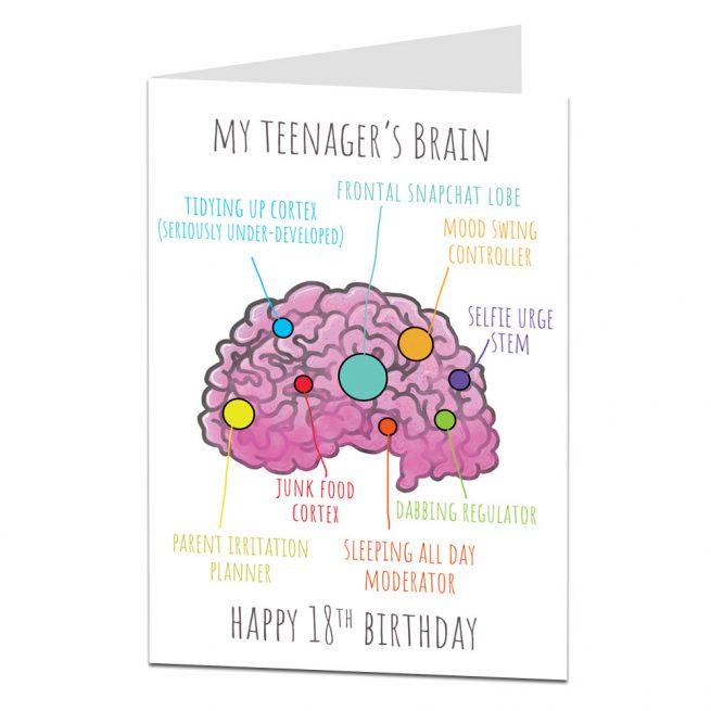 18th Birthday Card Teenagers Brain