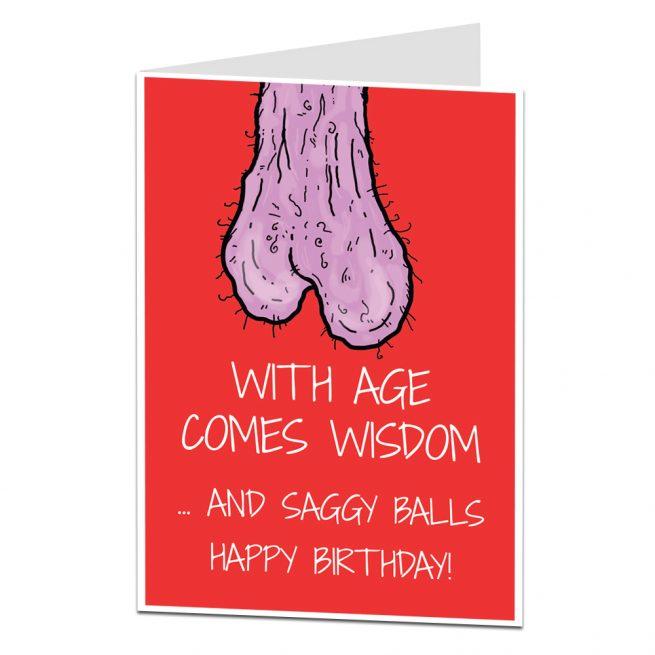 Saggy Balls Birthday Card