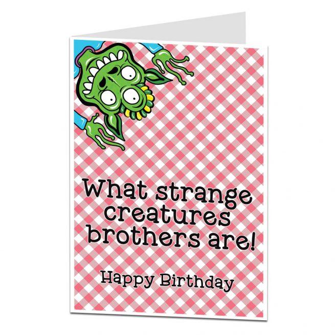 Strange Creatures Brother Birthday Card